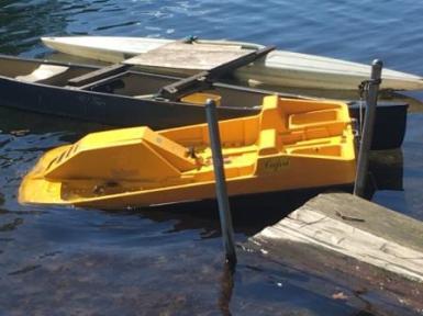 yellow paddleboat